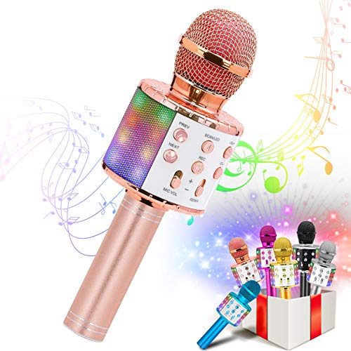 VERKB Kids Karaoke Machines Toy for 3-12 Year Girls, Bluetooth Karaoke Microphone with LED Lights for Children's Gift Toy(Rose Gold)