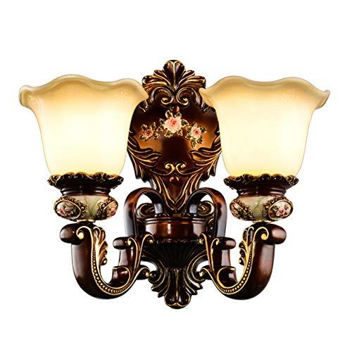 TASGK Wandleuchte Innen Retro Vintage Modern, Creative Resin Glas Lampenschirm Wandlampe Retro Metall Eisen Antik Wandlicht für Wohnzimmer Schlafzimmer Restaurant,2Heads