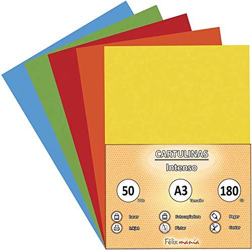 Confezione da 50 cartoncini formato A3, 180 g, colori forti