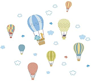 Funny Animals White Cloud Hot Air Balloon Wall Stickers for Kids Rooms Home Decor Cartoon Elephant Giraffe Wall Decals Pvc...