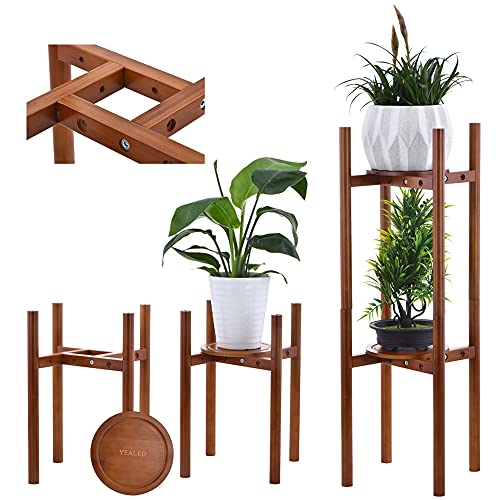 YEALEO Ajustable Reforzado Soportes para Plantas de Tornillo, 2 Unidades Bambú Estantería de...