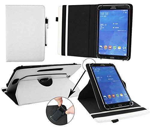 emartbuy® Artizlee ATL-21 10.1 Zoll HD Tablet PC Universal (9-10 Zoll) Weiß Premium PU Leder 360GradrotierendeStandFolioGeldbörseTascheHülle + Weiß Eingabestift
