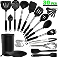 Silicone Kitchen Cooking Utensil Set - ADINC 30PCS Kitchen Utensils Stainless Steel Handle Silicone Spoons Spatula Turner Whisk Tongs Cooking Tools with Holder Non-stick Heat Resistant Cookware Black