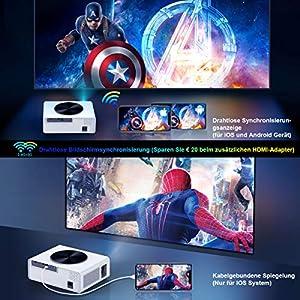 "WiFi Beamer, WiMiUS 7000 Lumen 1080P Full HD Beamer Unterstützung 4K LED Heimkino Videobeamer 300"" Display Kompatibel mit Fire Stick, PS4, X Box, iOS / Android Smartphone Projektor (Weiß)"