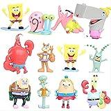 Kshong 12 Piezas 7-8 cm Bob Esponja Pantalones coleccionistas Figura de acción Juguetes Regalo para los niños Lindo Anime muñeca niños Juguete Coche decoración