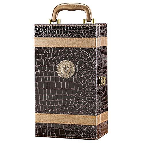 Caja de vino para regalos, 2 Botella de vino de la PU de almacenamiento Carrier adapta a 2 x 75 cl Botella ideas del regalo for la boda de la mamá del día de madres cumpleaños de la Navidad del recuer