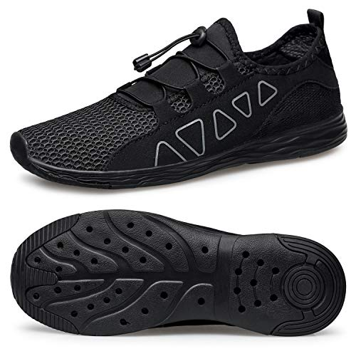 vibdiv Women's Water Shoes Quick-Drying - Aqua Shoes Outdoor for Diving Swimming Lightweight Beach Walking Shoes All Black 8