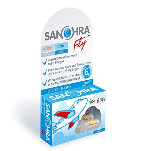 SANOHRA fly für Kinder - Ohrstöpsel gegen Ohrenschmerzen beim Fliegen, mit patentiertem Filter. Aus medizinischem Kunststoff, wiederverwendbar, mit praktischem Döschen zum Aufbewahren. Gefertigt und z