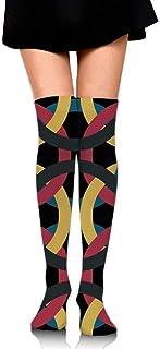 DAWN&ROSE, DAWN & ROSE - Calcetines deportivos con estampado geométrico retro