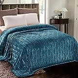 Whale Flotilla Flannel Fleece King Size(90x104 Inch) Lightweight Bed Blanket, Soft Velvet Bedspread Plush Fluffy Coverlet Palm Leaves Design Decorative Blanket for All Seasons, Grey Blue
