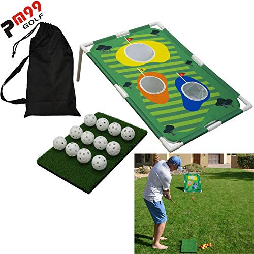 Cracklight Backyard Golf Cornhole Game Fun Indoor Outdoor Golfing Chipping Game Practice Training Target Set (Sin Palos de Golf