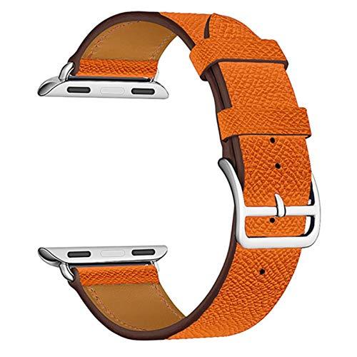Correa de cuero de vaca para correas de Apple Watch 42 mm 44 mm para Iwatch Series 6 5 4 3 2 1 SE Accesorios Bucle 38 mm Reemplazo de pulsera 40 mm-Patrón de cruz Naranja, 42 o 44 mm
