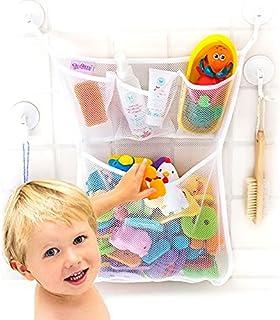 "Bath Toy Organizer -The Original Tub Cubby - Large 14x20"" Quick Dry Bathtub Mesh Net - Massive Baby Toy Storage Bin + 3 So..."