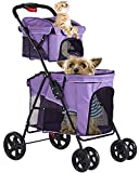 VIAGDO Double Pet Stroller for 2 Dogs & Cats, 4 Wheels Dog Strollers for Small Dogs, Folding Travel Cat Stroller with Suspension System for Small Medium Dog Cat Pet Carrier Strolling Cart(Purple)