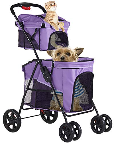 VIAGDO Double Pet Stroller for 2 Dogs & Cats, 4 Wheels Dog Strollers for Small Dogs, Folding Travel Cat Stroller with Suspension System for Small Medium Dog Cat Pet Carrier Strolling Cart