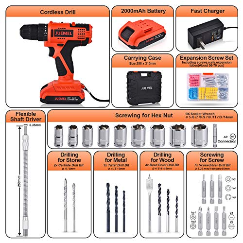 20V MAX Cordless Drill Driver, JUEMEL 100Pcs Accessories Electric Power Drill Set, 2-Speed with Variable Speed Trigger, 3/8'' Keyless Chuck, 18+1 Clutch and 2Ah Lithium-Ion Battery