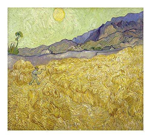Puzzle Pintura al óleo Famosa de Mundo del Rompecabezas -El Campo de Trigo con un segador de Arles Rompecabezas de Vincent Van Gogh 300/500/1000 Piezas Único-Cut Piezas entrelazadas (Regalo)