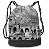 Ya Yi Feng Architectures Europe Buildings Black and White Drawstring Backpack mochila Sports Gym Cinch Sack Bag for Kids Men and Women Sackpack Dance Bag