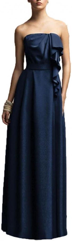 Dearta Women's ALine Strapless FloorLength Satin Bridesmaid Dresses