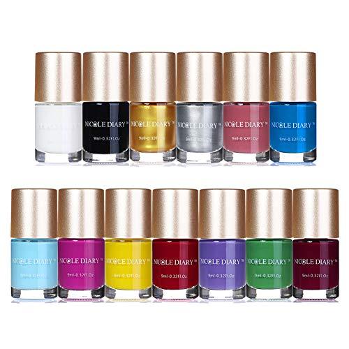 NICOLE DIARY 13 Stücke Nail art Stamping Nagellack Drucklack Nagelplatte Lack für Maniküre Druck (13 Farben)