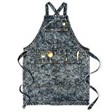 Jeanerlor Denim Aprons with Pockets for Women Work Teacher Apron for Woodworking Hair Stylist(Black) Cross Straps & Adjustable S to M