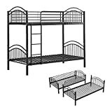 BELIFEGLORY 2 in 1 Metal Bunk Bed, Convertible 2 x 3 FT Single Twin Over Twin Bed Frame with Movable Ladder, Safety Guardrail and Strong Metal Slats for Kids and Adult (Black)