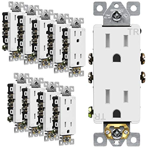 ENERLITES Decorator Receptacle Outlet, Tamper-Resistant, Residential Grade, 3-Wire, Self-Grounding, 2-Pole, 15A 125V, UL Listed, 61501-TR-W-10PCS, White (10 Pack)