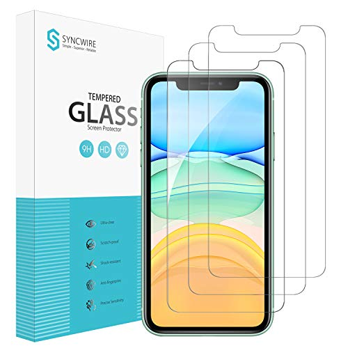 Syncwire Screen Protector for iPhone 11, iPhone XR (3-Pack), Anti-Fingerprint Tempered Glass Screen Protector (9H Hardness, 6X Stronger, Installation Frame, Bubble Free)