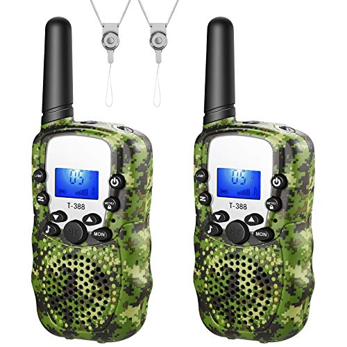 MICRODATA Walkie Talkies for Kids 3 KMs Long Range Children Walky Talky Handheld Radio Kid Toy, Long Distance 22 Channels with Flashlight Outdoor Camping Hiking Toy Gifts for Boys Girls 2 Pack - Green