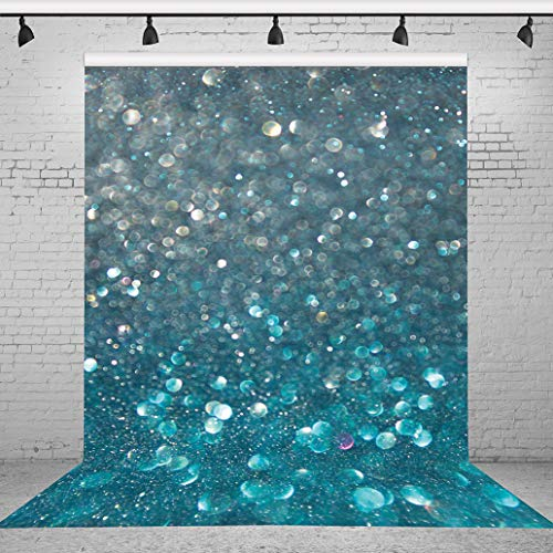 Riyidecor 5x7 Feet Blue and Silver Glitter Spots Backdrop Bokeh Sparkle Turquoise Mermaid Scale Photography Backgrounds Birthday Party Baby Shower Celebration Photo Shoot Vinyl Cloth (No Glitter)