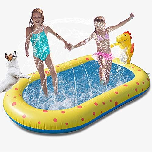 HUA JIE Splash Pad, Aspersor de Juegos de Agua para Niños PVC Splash Play Mat Almohadilla de Juego de Agua para Niños para Jardín de Verano Juguetes Acuático Actividades Familiares