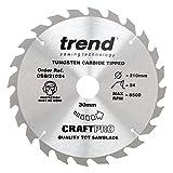 Trend CSB/21024 CraftPro <span class='highlight'>Saw</span> <span class='highlight'>Blade</span> 210mm x 24 Teeth x <span class='highlight'>30mm</span>, Silver/Black