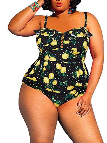 leyay Women's Plus Size Swimsuit 2 Piece Floral Printed Ruffle Tummy Control Peplum Tankini Beach Swimwear Yellow
