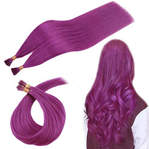 RUNATURE Extensions De Cheveux 20 Pouces Couleur Violet 25 Brins 25g Droit Extensions Keratine I Tip Cheveux Lisse