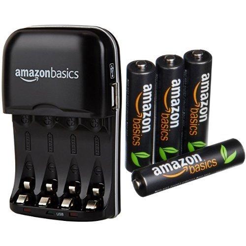 Amazon Basics - Cargador de pilas AA y AAA y pack de...