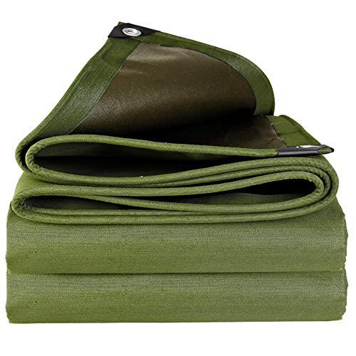 Wang Heavy Duty Tarpaulin Waterproof Tarp Green, Pool Roof Cover Camping Tents, Tear Proof, 600G/M² Quality Cover Tarp (Color : Green, Size : 3x4m)