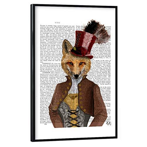 artboxONE Poster mit schwarzem Rahmen 45x30 cm Für Kinder Fürst Fuchs - Bild Fuchs adelig Corsage