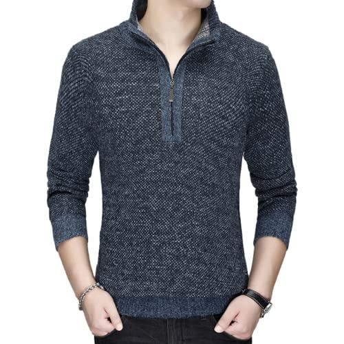 Jersey de Punto para Hombre, suéter con Media Cremallera, Cuello Alto, Prendas de Vestir Exteriores, Informal, de Negocios, Ocio, Color sólido, tamaño Grande 3XL