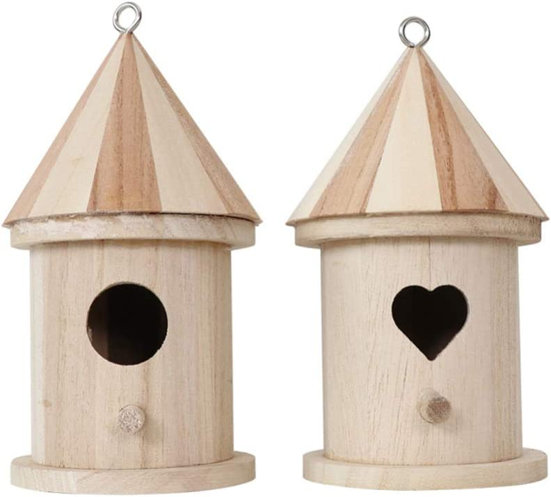 EXCEART 2Pcs Wooden Bird House Product Paint Birdhouse famous to Unfinished Han