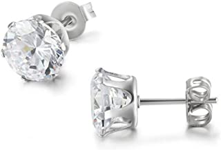 Daesar Gold Plated Earrings Womens Stud Earrings Square White Channel Cubic Zirconia Earring U Earrings