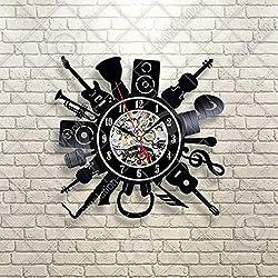 Kovides Musical Instrument Wall Clock Decorations for Party Retro Wall Clock Handmade Musical Instruments Vintage Vinyl Record Clock Music Minimalist Clock Birthday Gift Idea