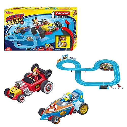Carrera First Disney Mickey and The Roadster Racers 20063013 Rennbahn für Kinder ab 3 Jahren Mickey Mouse Vs. Donald Duck