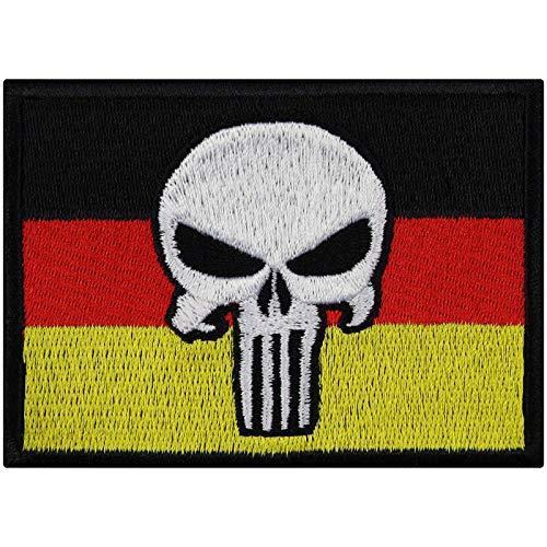 Flagge Aufnäher Germany Punisher Biker Aufbügler Totenkopf Patch Rocker Bügelbilder Heavy Metal Sticker zum aufnähen Männer-Geschenk DIY Applikation für Leder-Jacken/Kutten/Jeans/Taschen 90x65mm
