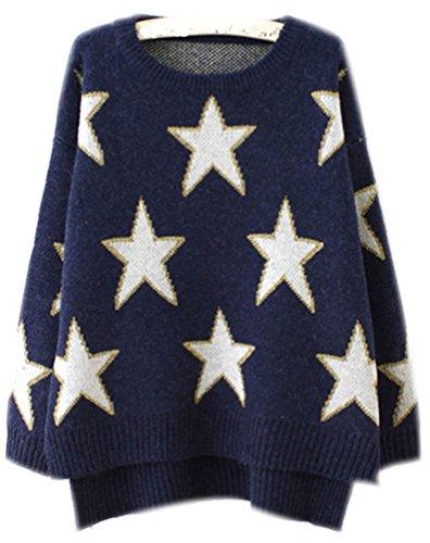 Fuxiang Mohair Sweater Damen Sterne Pullover Rundhals Strickpullover Mantel Frauen Pullover Winterpullover Warme Winterjacke Pullis Herbst Winter Navy blau