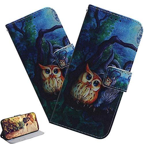 LEMAXELERS Galaxy A21S Hülle,Samsung Galaxy A21S Handyhülle Glitzer Süße Malerei Eule Flip Case PU Leder Case Cover Magnet Schutzhülle Tasche Ständer Handytasche für Samsung Galaxy A21S,TX Paint Owl