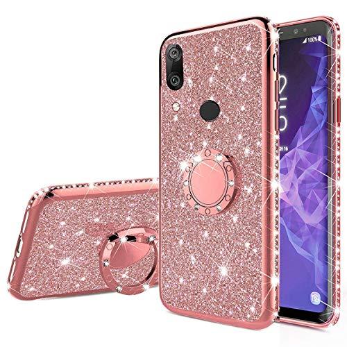 Nadoli Funda con purpurina para Huawei Y6 2019, con diamantes de imitación brillantes para niñas y mujeres con anillo de soporte, funda protectora transparente para Huawei Y6 2019, oro rosa