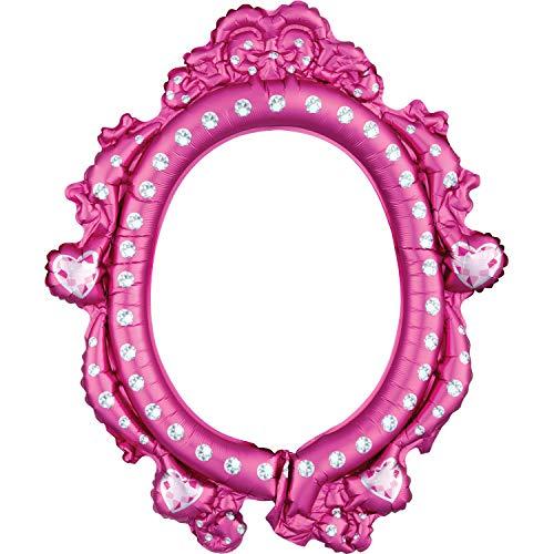 amscan 10133467 3818101 Prinzessinnen Folienballon Selfierahmen Disney Princess, Pink/Weiß