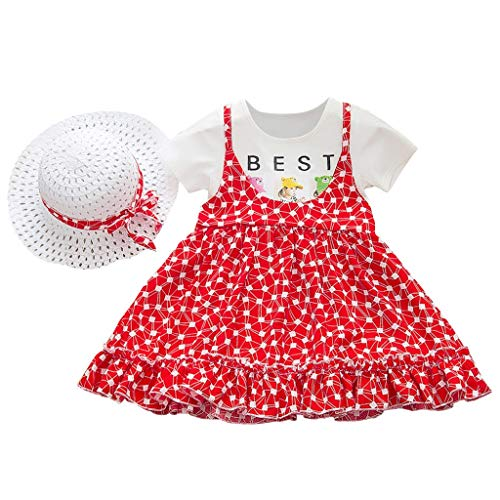 LEXUPE Baby Kids Girls Kurzarm Leopard Bedrucktes Fake Two Set Kleid Mit Hut Outfit(B-Rot,120)