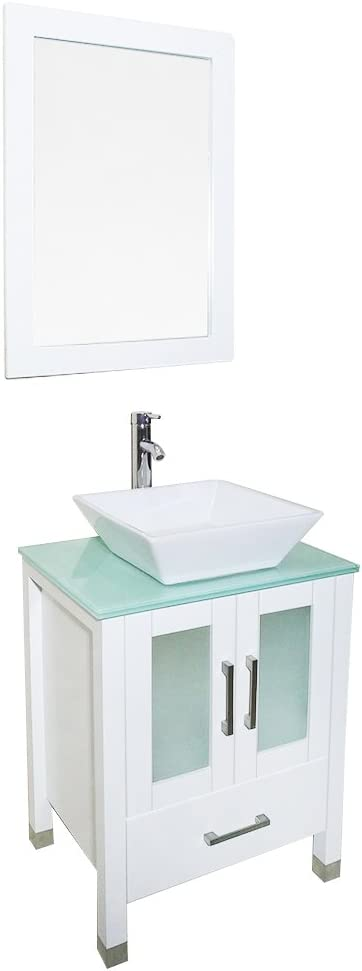 QIERAO Memphis Mall 24 inch White Bathroom Solid Vanity with Coun Wood Mirror Discount mail order