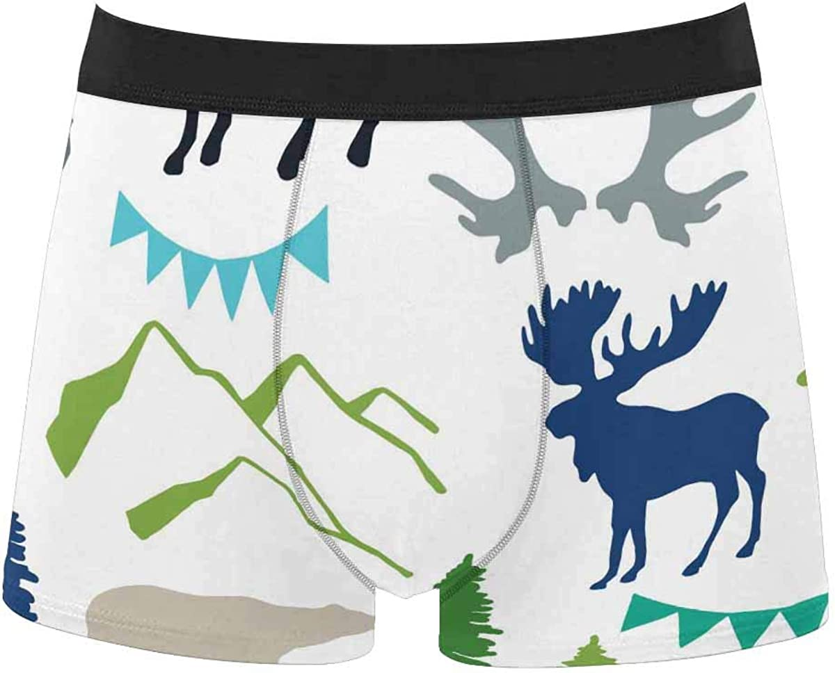 InterestPrint Men's Classic Fit Boxer Briefs Comfort Breathable Underwear Forest Owls and Birds